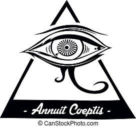 horus eye - horus one eye theme vector art illustration