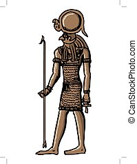 Horus, god of ancient Egypt - sketch, cartoon illustration...