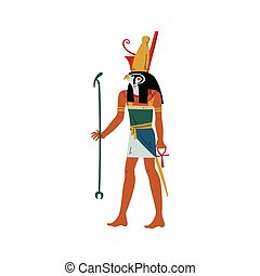 Horus God of Sky and Sun with Head of Falcon, Symbol of Ancient Egyptian Culture Vector Illustration