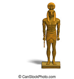 horus statue - rendering of eygptian god horus statue with...
