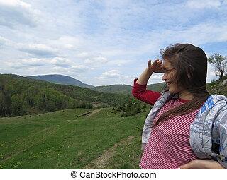 hory, děvče