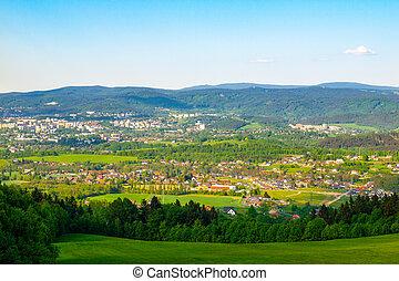 hory, liberec, čech, panoráma, slunný den, grafické pozadí, republic., pramen, město, jizera