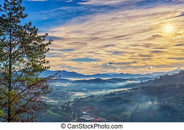 hory, mlhavý, překrásný, přehánět, ráno, nosnice, krajina