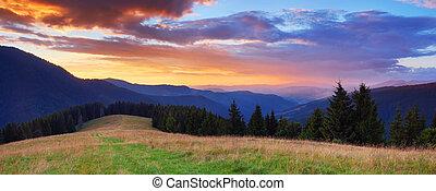 hory, západ slunce, panoráma