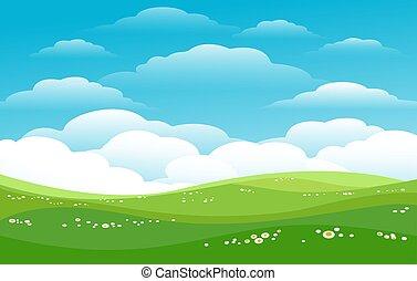horyzont, błękitny, górki, zielony, niebiosa