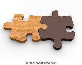 horyzontalnie, drewniany, wyrzynarka, dwa, razem, kawałki, kłaść
