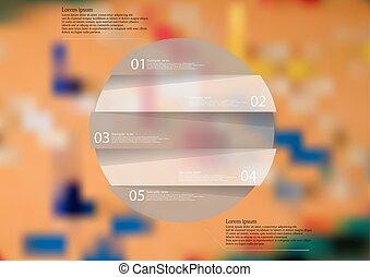 horyzontalnie, zaokrąglony, podzielony, obiekt, strony, infographic, piątka, szablon