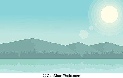 hos, morgon, fjäll landskap, och, flod