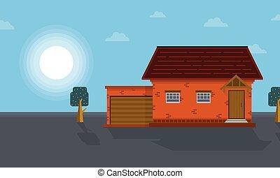hos, morgon, hus, landskap, vektor, konst