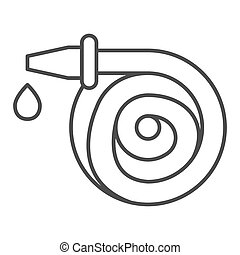 Hose and water drop thin line icon, Cleaning service concept, spray gun sign on white background, Watering equipment icon in outline style for mobile concept and web design. Vector graphics.