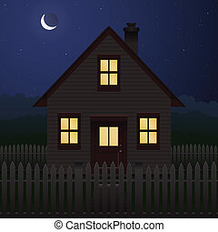 Hose at night - Quaint house and picket fence at night