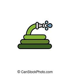 Hose. Filled color icon. Gardening vector illustration - ...