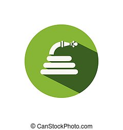 Hose. Icon on a green circle. Gardening vector illustration
