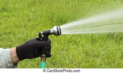 hose nozzle - hand holding a hose nozzle while watering a...