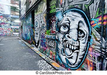 Hosier Lane - Melbourne - MELBOURNE, AUS - APR 10 2014:...