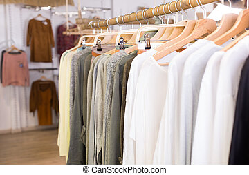 Hosiery clothing in apparel store interior