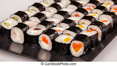 Hoso sushi set and rolls for sushi heart symbol. Various ...