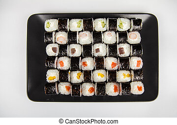 Hoso sushi set and sushi rolls. Various sushi and rolls with...