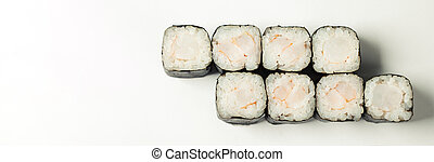 Hoso with shrimp on a white plate classic Japanese sushi. ...