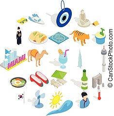 hospice, ensemble, isométrique, style, icônes