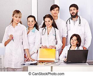 hospital., équipe, docteur