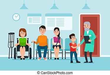 hospital., απασχολημένος , ασθενής , βοήθεια , γιατρός , room., ιατρικός , αναμονή , εικόνα , έδρα , ανεκτικός , μικροβιοφορέας , κλινική , γιατροί , αίθουσα , αναμονή
