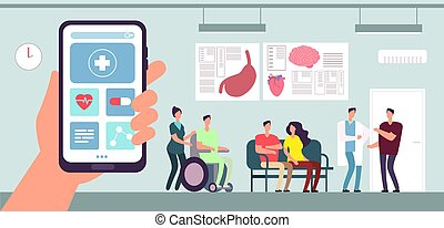 hospital., γενική ιδέα , ασθενής , δωμάτιο , γιατρός , κινητός , ιατρικός , application., τηλέφωνο , αναμονή , μικροβιοφορέας , healthcare , νοσοκόμα , app.
