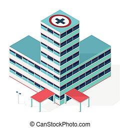 hospital., изометрический, контур, больница, медицинская, building.