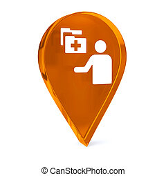 Hospital Administration - Glass GPS marker icon with white...