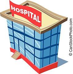 hospital, ambulancia, edificio