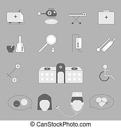 Hospital and emergency icons on gray background