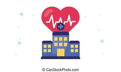 hospital and heart cardio healthcare animation ,4k video animated