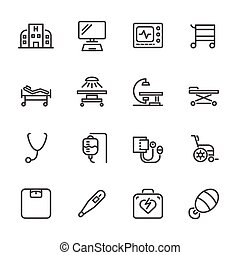 Hospital and medical equipment icons set. Vector line icons