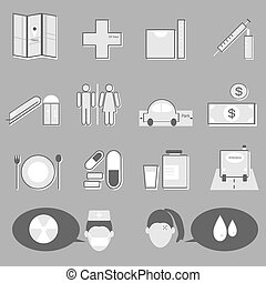 Hospital and medical icons on gray background