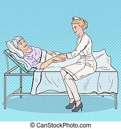 hospital., art, femme, pop, main, vecteur, santé, illustration, tenue, soin, personne agee, caregiver, woman., médecine