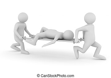 Hospital attendants transfer patient on stretcher. Isolated ...