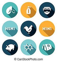 hospital., avian, ensemble, grippe, cellules, température,...