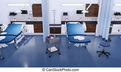 Hospital bed and equipment in empty emergency room - Row of...