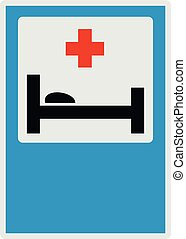 Hospital bed and medical cross icon, flat style.