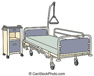 Hospital bed - Hand drawing of a classic metal hospital bed