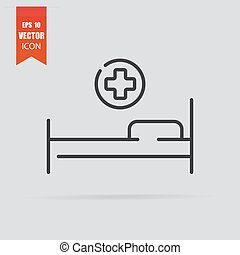 Hospital bed icon in flat style isolated on grey background.