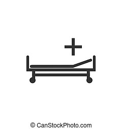 Hospital bed icon. Vector illustration, flat design.