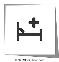 Hospital Bed icon with cut out shadow effect
