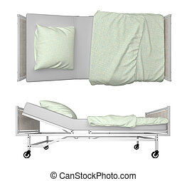 Hospital Bed isolated on white 3d rendering