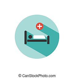 Hospital bed. Medicine flat color icon with shadow on a green circle