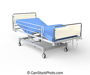 Emergency hospital bed with equipment. Empty hospital bed ...