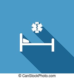 Hospital Bed with Medical symbol of the Emergency - Star of Life icon isolated with long shadow. Flat design. Vector Illustration