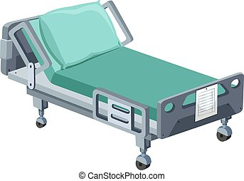 Hospital bed with wheels