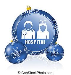 Hospital blue christmas balls icon