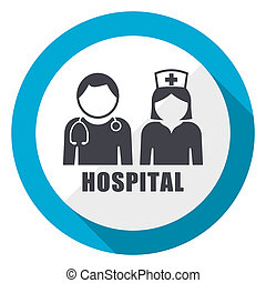 Hospital blue flat design web icon